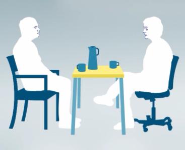 Animasjonsbilde av to personer som prater ved et bord.