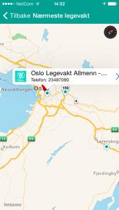 Minplan utnytter kartverktøyet på mobilen for å vise vei til nærmeste legevakt.
